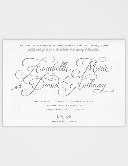 Calligraphy Wedding Invitation, Classic, Elegant Wedding Invitation