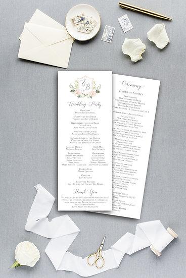 Wedding Crest Wedding Monogram Floral Crest Watercolor Painted Floral Ceremony Program Wedding Program