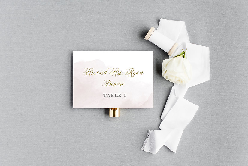 Pink and Gold Watercolor Escort Cards Place Cards