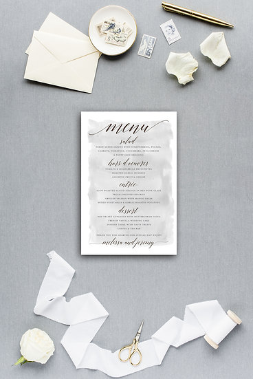 Gray Watercolor Dinner Menu Reception Menu Wedding Menu