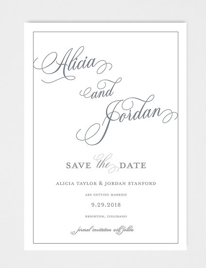 Modern Calligraphy Formal Save the Date