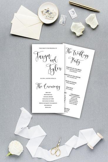 Elegant Simple Modern Calligraphy Script Ceremony Program Wedding Program
