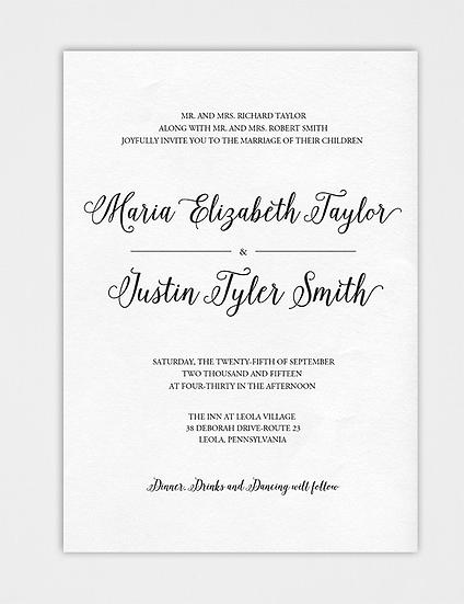 Calligraphy Wedding Invitation, Classic Wedding Invitation, Elegant Wedding Invitation
