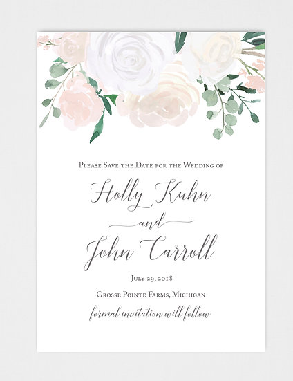 White Ivory Floral Watercolor Floral Save the Date
