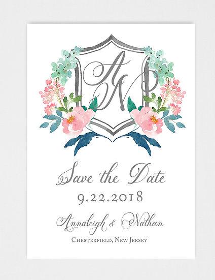 Wedding Monogram Wedding Crest Floral Crest Save the Date