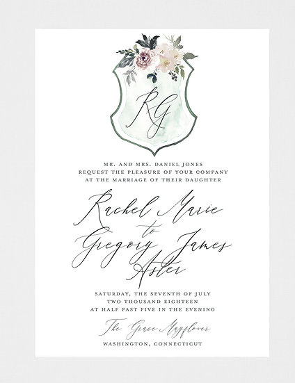 Crest Wedding Invitation, Monogram Wedding Invitation, Watercolor Crest Wedding Invitation, Watercolor Wedding Invitation