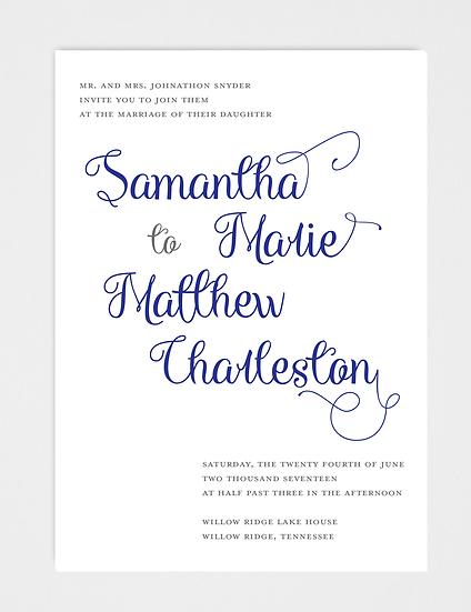 Calligraphy Wedding Invitation, Modern Calligraphy Wedding Invitation, Modern Wedding Invitation