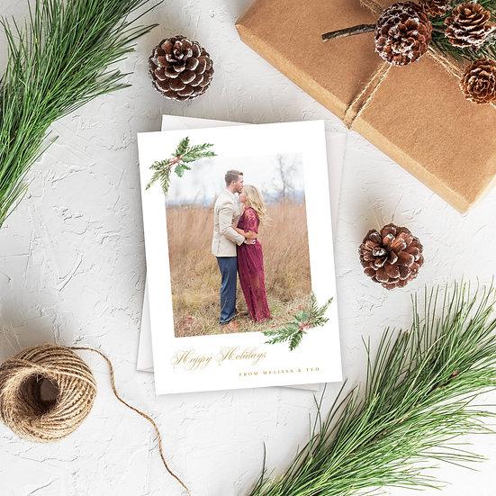 Greenery Holiday Photo Card