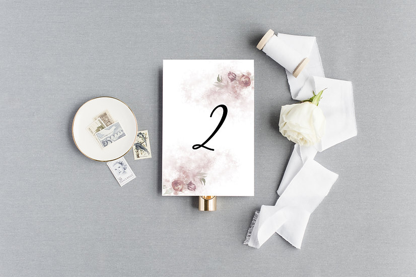 Watercolor Rose Table Numbers
