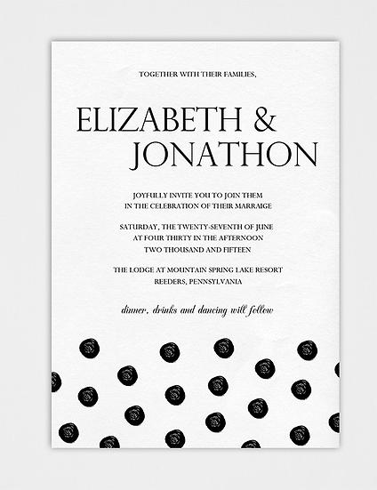 Modern Wedding Invitation, Dot Wedding Invitation, Black and White Wedding Invitation