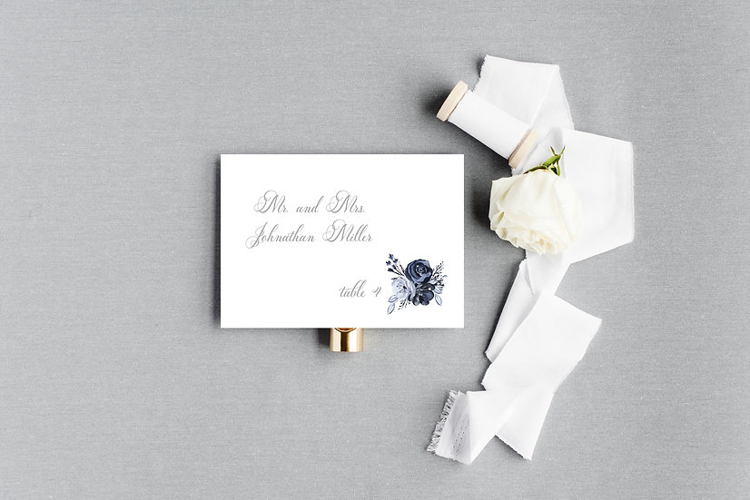 Blue Painted Watercolor Escort Cards Place Cards