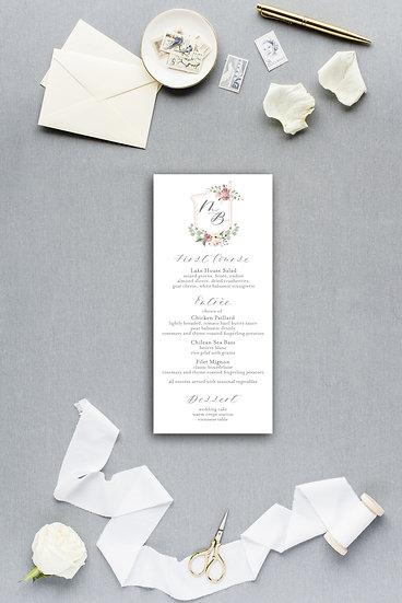 Floral Crest Wedding Crest Wedding Monogram Pink Gold Painted Floral Dinner Menu Reception Menu Wedding Menu