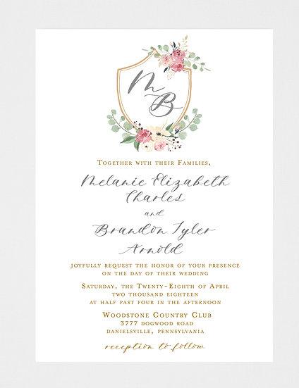 Floral Wedding Invitation, Floral Monogram, Floral Crest, Crest Wedding Invitation, Gold Wedding Invitation