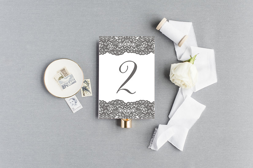 Gray Lace Table Numbers