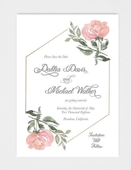 Pink Magenta Blue Floral and Gold Save the Date