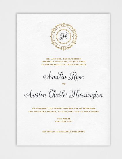 Gold Wedding Invitation, Classic Wedding Invitation, Elegant Wedding Invitation