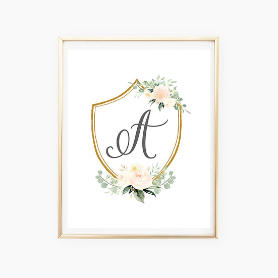 Custom Blush Floral Crest Art Print