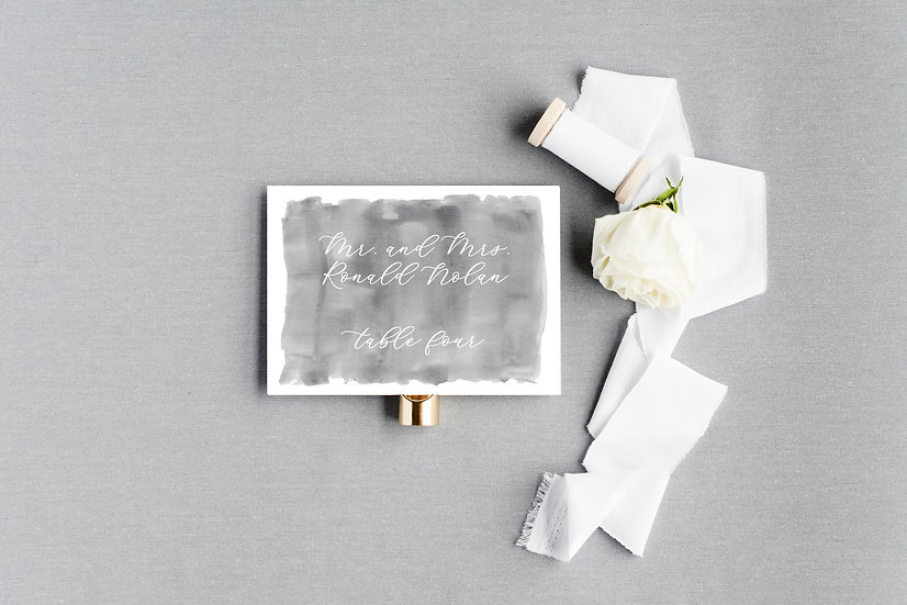 Dark Gray Slate Gray Watercolor Escort Cards Place Cards