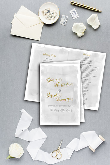 Gold and Gray Watercolor Ceremony Program Wedding Program