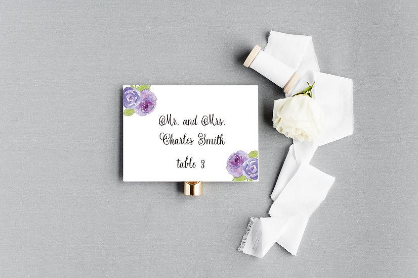 Painted Watercolor Purple Floral Escort Cards Place Cards