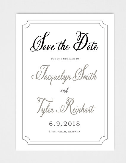 Classic Modern Calligraphy Save the Date