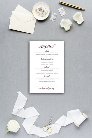 Simple Modern Elegant Calligraphy Script Dinner Menu Reception Menu Wedding Menu