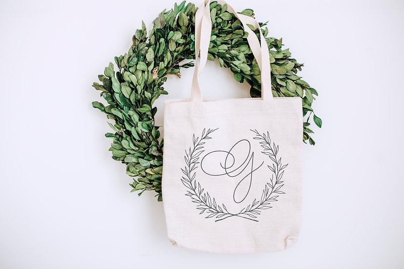 Custom Monogram Wreath Tote