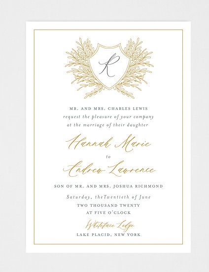 Gold Gray Wedding Invitation, Gold Wedding Invitation, Wedding Monogram, Wedding Crest