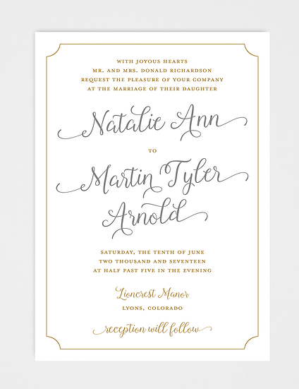 Gold Wedding Invitation, Gold and Gray Wedding Invitation, Calligraphy Wedding Invitation