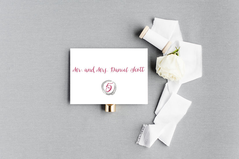 Geometric Gray Pink Escort Cards Place Cards