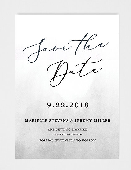 Gray Watercolor Save the Date