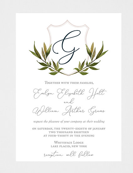 Crest Wedding Invitation, Monogram Wedding Invitation, Floral Crest Wedding Invitation