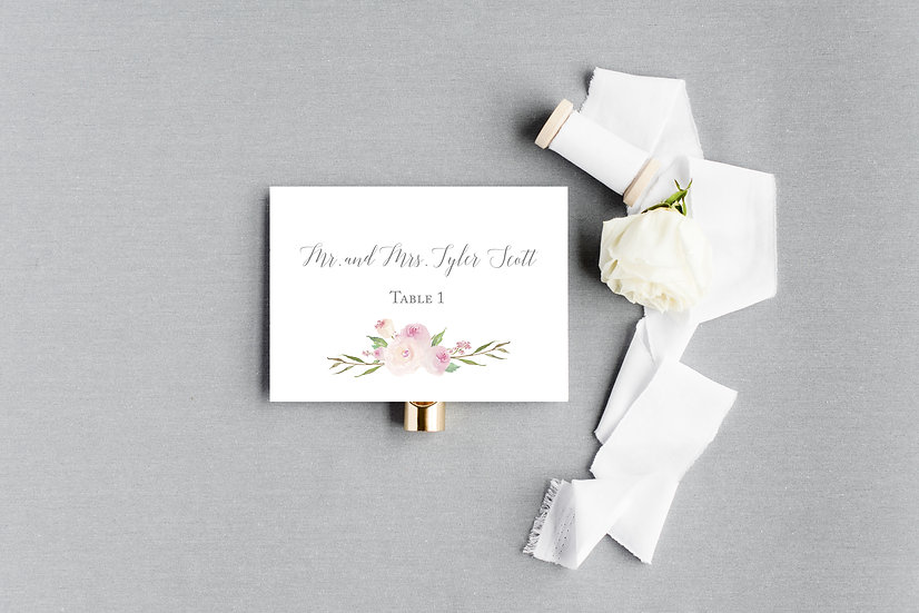 Pink Blush Painted Watercolor Floral Escort Cards Place Cards