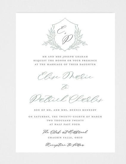 Slate Blue Wedding Invitation, Wedding Monogram, Wedding Crest, Wedding Crest Invitation