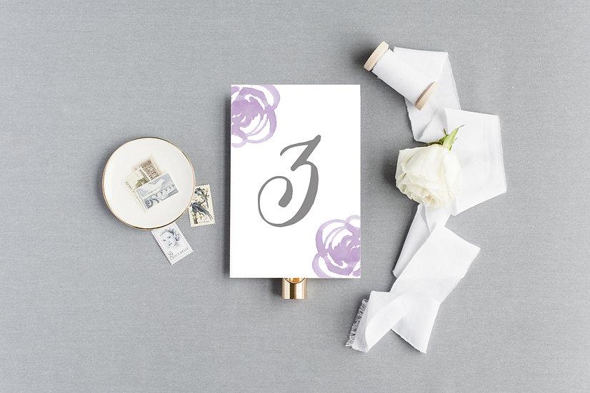 Purple Watercolor Rose Table Numbers