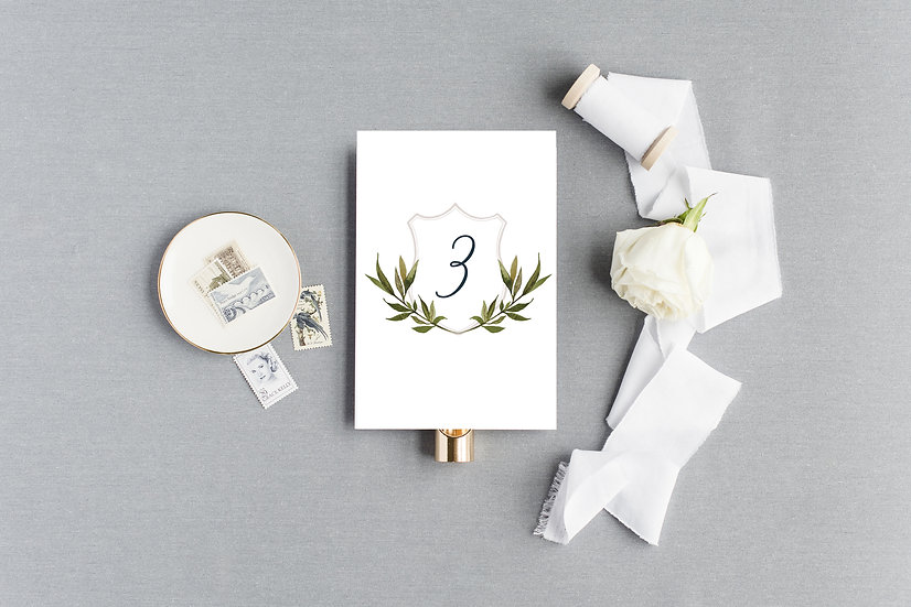 Blush Laurel Floral Monogram Crest Table Numbers