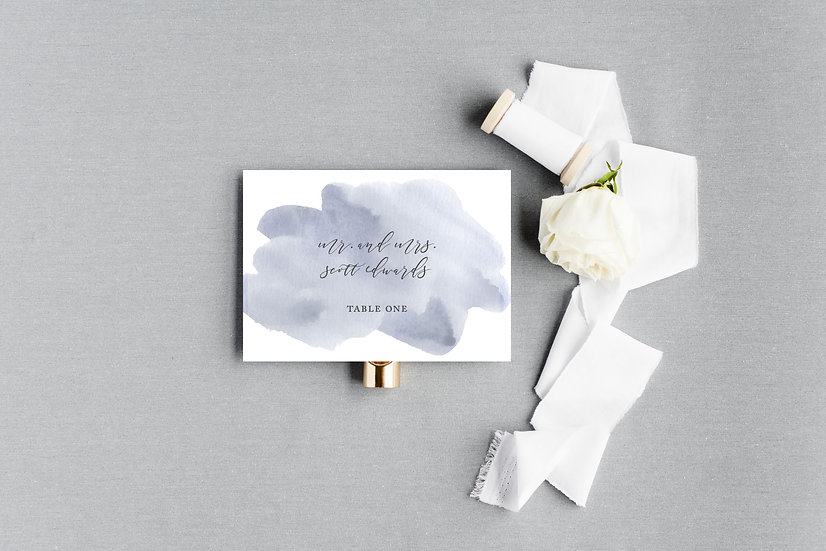 Blue Gray Watercolor Escort Cards Place Cards