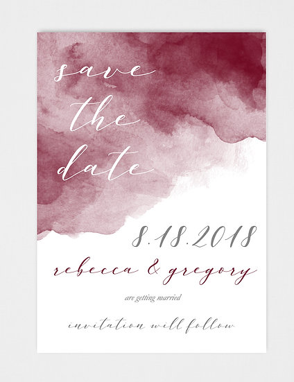 Burgundy Marsala Watercolor Save the Date