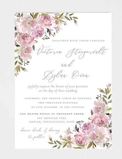 Mauve Floral Wedding Invitation, Mauve Wedding Invitation, Watercolor Floral Wedding Invitation, Purple Watercolor Flowers