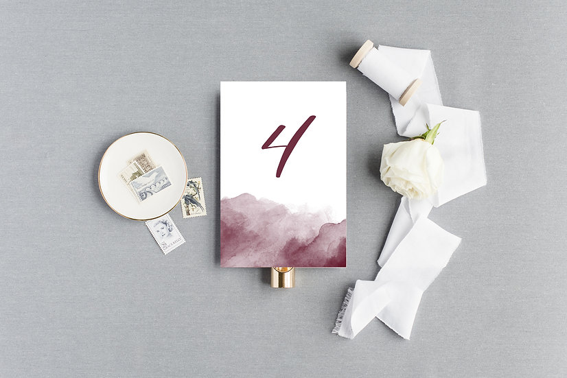 Marsala Burgundy Watercolor Table Numbers