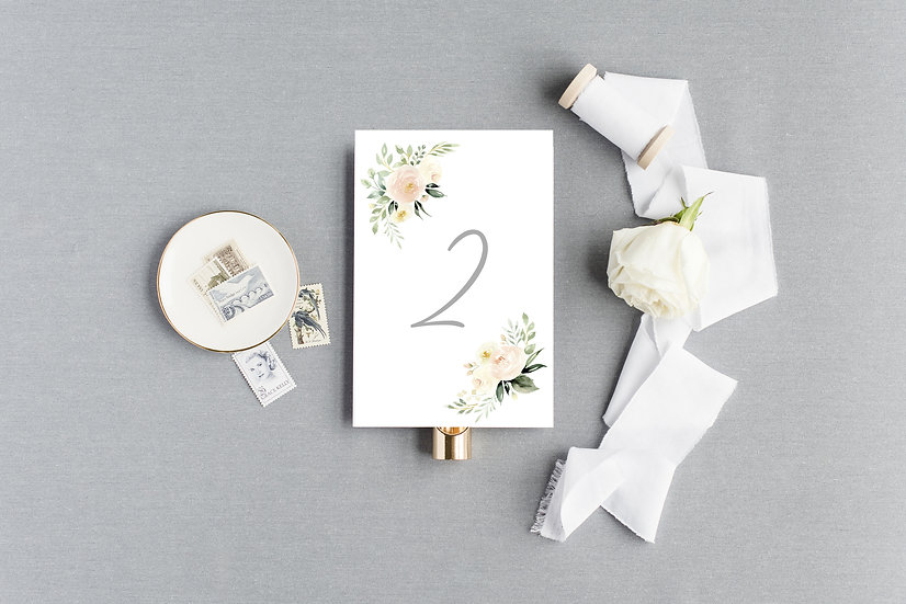 Ivory Watercolor Painted Floral Table Numbers