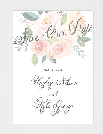 Pink Peach Coral Watercolor Floral Save the Date