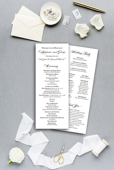 Formal Elegant Calligraphy Script Ceremony Program Wedding Program