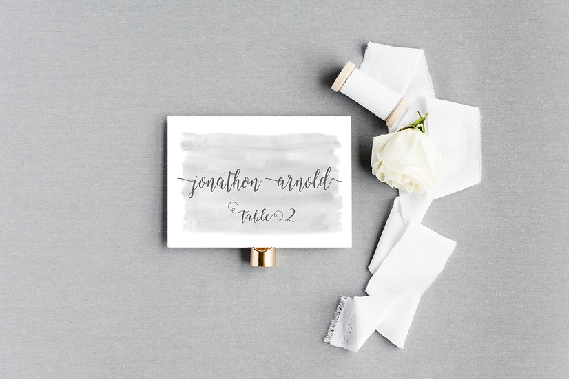 Gray Watercolor Escort Cards Place Cards