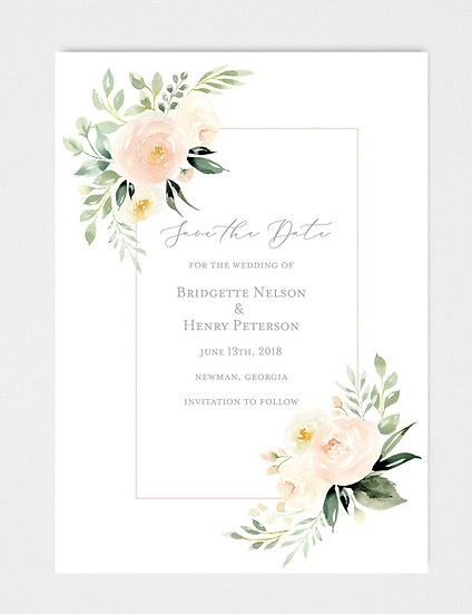 Ivory Blue Floral Painted Watercolor Floral Save the Date
