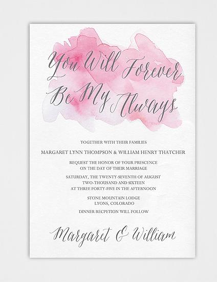 Watercolor Wedding Invitation, Pink Wedding Invitation, Pink Watercolor Wedding Invitation