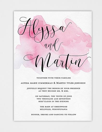 Pink Wedding Invitation, Pink Watercolor Wedding Invitation, Watercolor Wedding Invitation, Calligraphy Wedding Invitation