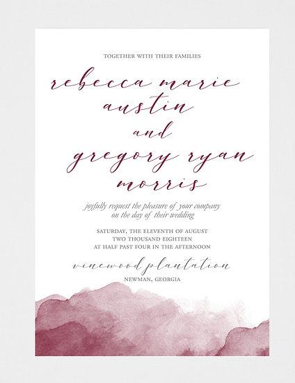 Burgundy Wedding Invitation, Watercolor Wedding Invitation, Burgundy Watercolor Wedding Invitation