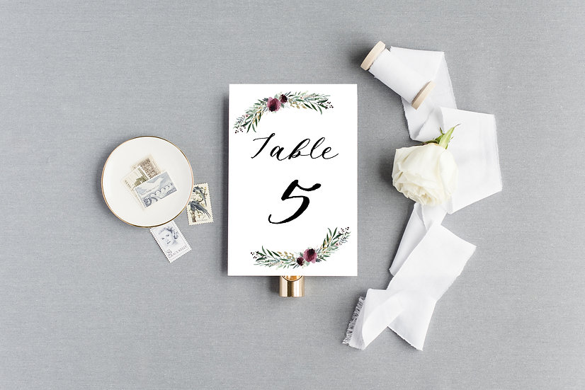 Blush Burgundy Gold Painted Watercolor Floral Table Numbers