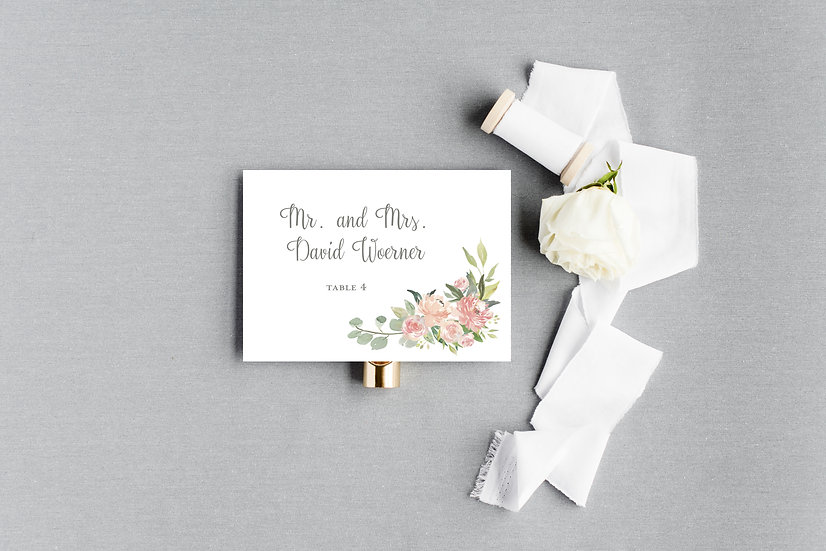 Pink Blush Peach Watercolor Floral Escort Cards Place Cards